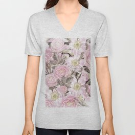 Floral Vintage painterly background in pink with Roses Flowers and insect Unisex V-Neck
