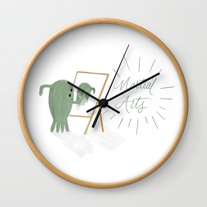 Martial Arts - Outer space alien painting a self portrait Wall Clock