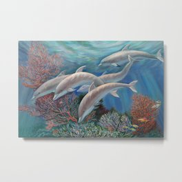 Happy Family - Dolphins Are Awesome Metal Print
