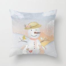 Winter Wonderland- Snowman birds and bunnies - Watercolor illustration Throw Pillow
