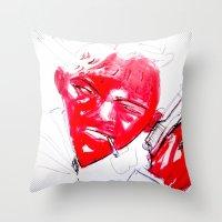 gangster Throw Pillows featuring Strawberry gangster by Jan Boss