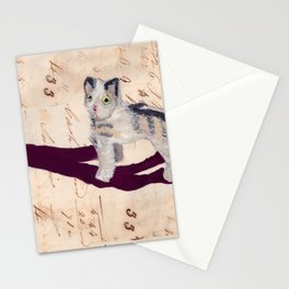 Vintage Fabric Stuffed Cat in Gouache Stationery Cards