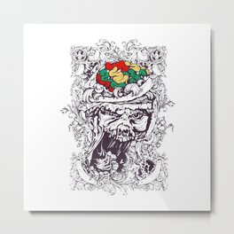 Skull with Brain OUT Metal Print