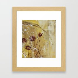 Yellow Tan Spring Abstract Flowers. Jodilynpaintings. Abstract Floral Framed Art Print