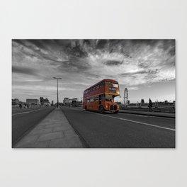 Bus 19 crosses Waterloo Bridge Canvas Print
