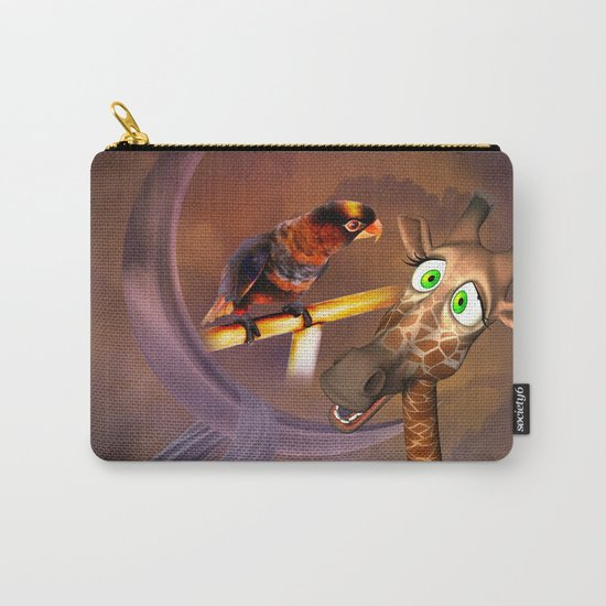 Funny cute giraffe with parrot Carry-All Pouch