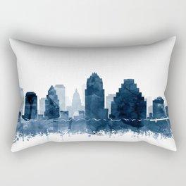 Austin Skyline Blue Watercolor by Zouzounio Art Rectangular Pillow