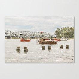 Boats at Santa Lucia River in Montevideo Uruguay Canvas Print