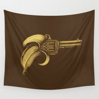banana Wall Tapestries featuring Banana Gun by Enkel Dika