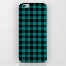 Simple Teal and Black Buffalo Plaid iPhone Skin