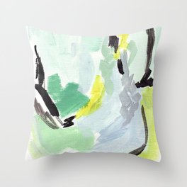 Twirl Green: Abstract Painting Throw Pillow