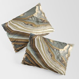 White Gold Agate Abstract Pillow Sham