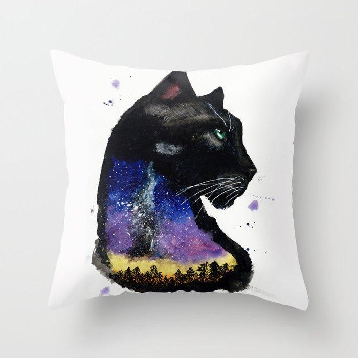 Galaxy Panther Throw Pillow
