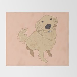 Golden Retriever Love Dog Illustrated Print Throw Blanket