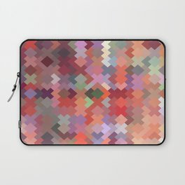 geometric square pixel pattern abstract in red brown green Laptop Sleeve