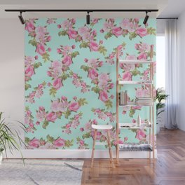 Pink & Mint Green Floral Wall Mural