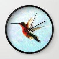 hummingbird Wall Clocks featuring Hummingbird by Nichole B.
