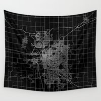 lincoln Wall Tapestries featuring Lincoln map Nebraska by Line Line Lines