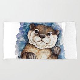 Watercolor Otter Beach Towel