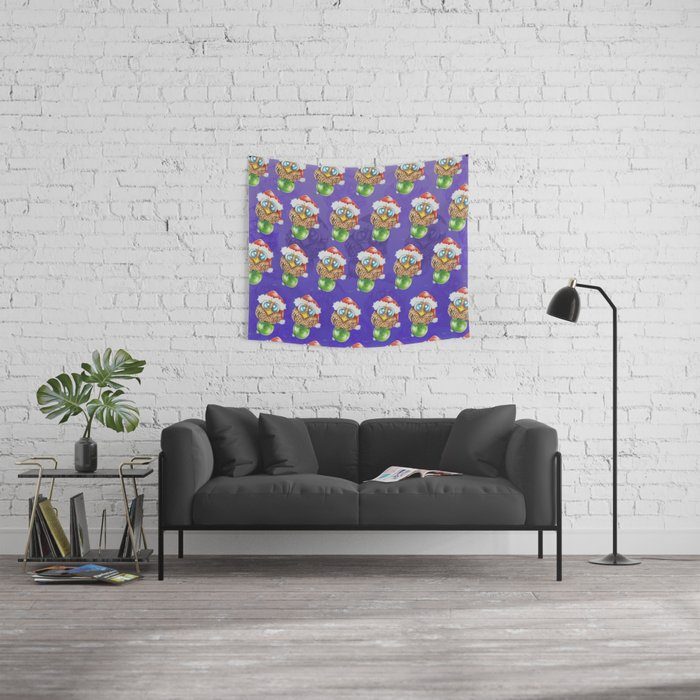 Owl I want for Christmas Wall Tapestry