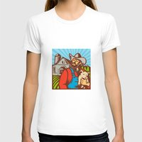 piglet T-shirts featuring Pig Farmer Holding Piglet Barn Retro by patrimonio