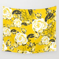 shabby chic Wall Tapestries featuring Shabby Chic Yellow Black & White Print Decor by MY  HOME