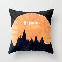 hogwarts Throw Pillows featuring Hogwarts by IA Apparel