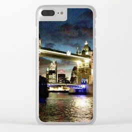 London Tower Bridge Rain Clear iPhone Case