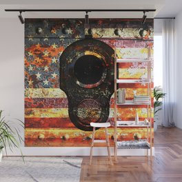 M1911 Colt 45 On Rusted American Flag Wall Mural
