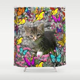 Emma in Butterflies - Gray Tabby Kitty Shower Curtain