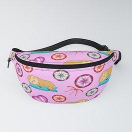Lazy baby sloths, sweet vintage retro lollipops candy. Cute pink nursery pattern design Fanny Pack