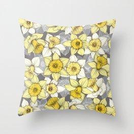 Daffodil Daze - yellow & grey daffodil illustration pattern Throw Pillow