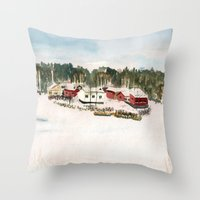 finland Throw Pillows featuring Finland village by Nadezhda Shoshina