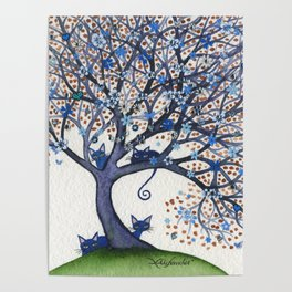 Oregon Whimsical Cats in Tree Poster