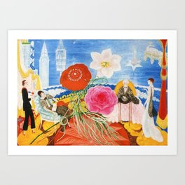 Red Poppies, Calla Lilies, Peonies & NYC Family Portrait by Florine Stettheimer Art Print