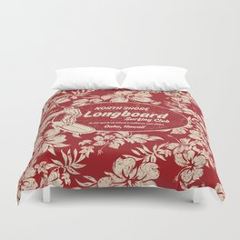 Club Surfing Longboard Surf Logo and Hibiscus Hawaiian Print      Duvet Cover