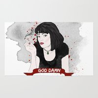 tarantino Area & Throw Rugs featuring Pulp Fiction's Mia Wallace by raeuberstochter