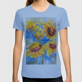 Sunflowers x 5 watercolor by CheyAnne Sexton T-shirt