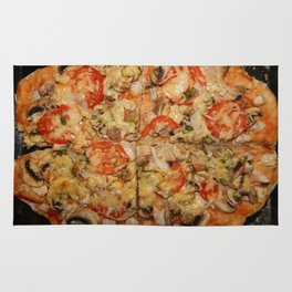 Preparation of home-made Italian pizza in the oven Rug