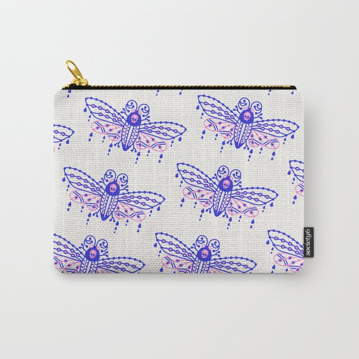 Death's Head Hawkmoth – Indigo & Pink Palette Carry-All Pouch