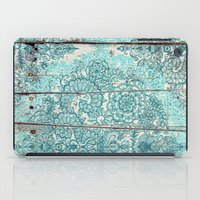 botanical iPad Cases featuring Teal & Aqua Botanical Doodle on Weathered Wood by micklyn