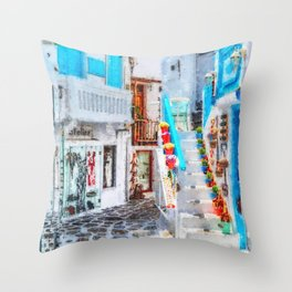 Mykonos Blue Shop Stairs Throw Pillow