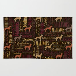 Belgian Malinois Dog Word Art pattern Rug