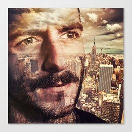 Double exposure portrait in nyc Canvas Print