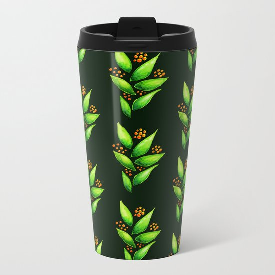 Abstract Watercolor Green Plant With Orange Berries Metal Travel Mug