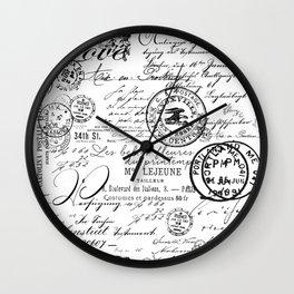 Vintage handwriting black and white Wall Clock