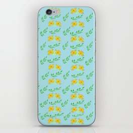 blue vintage with yellow flowers and leaves iPhone Skin