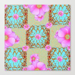 Delicate French Style Aqua Pink Wild Rose Gold Jewelry Abstract Canvas Print