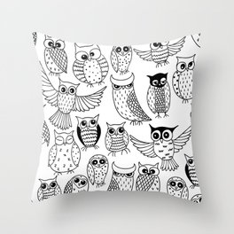 Funny owls Throw Pillow