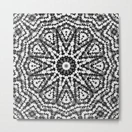 Abstract mosaic pattern .Black and white kaleidoscope . Metal Print